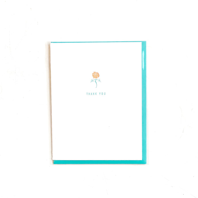 Thank You Rose Vintage Letterpress Card
