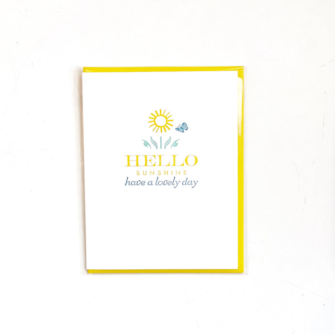 Hello Sunshine Have a Lovely Day Vintage Letterpress Card