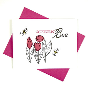 Bee & Tulip Card for the Queen Bee