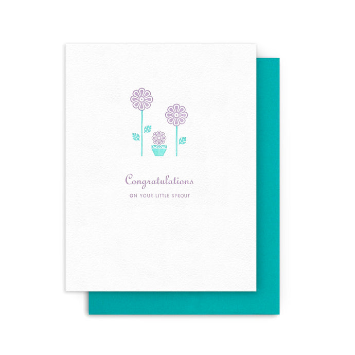 Congratulations on Your Little Sprout Letterpress Card
