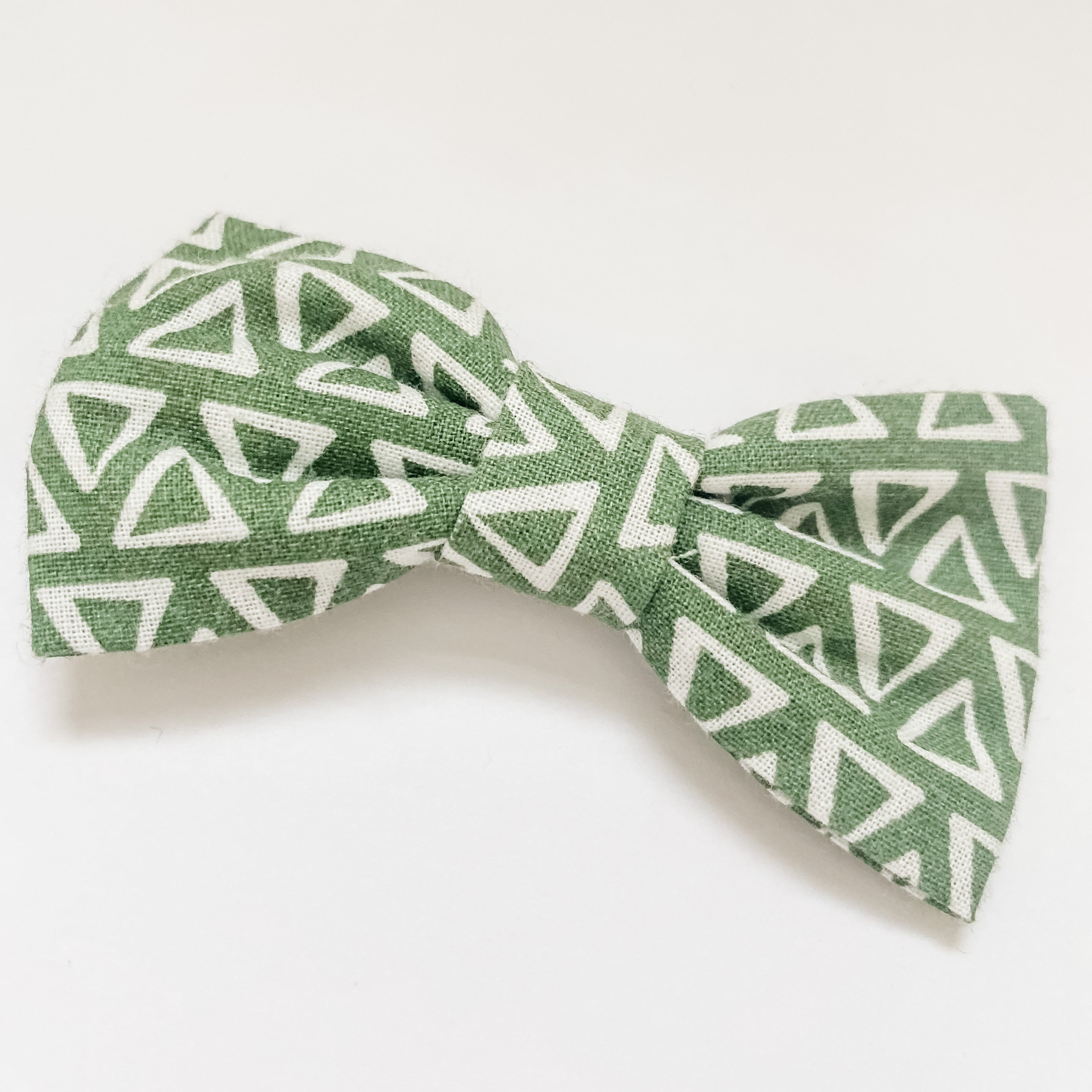 Green Triangles Cotton Classic Bow