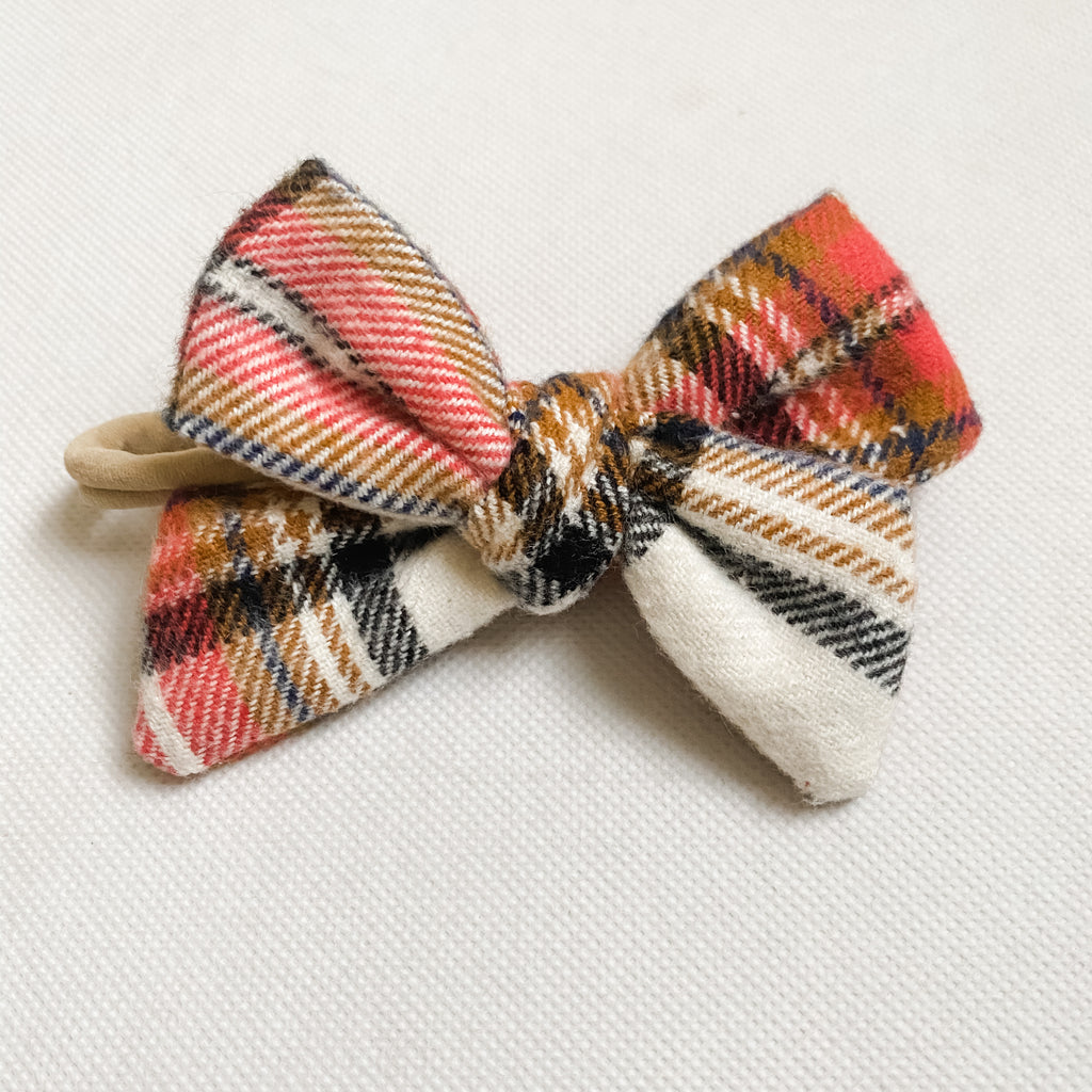 Fall Flannel Schoolgirl Bow