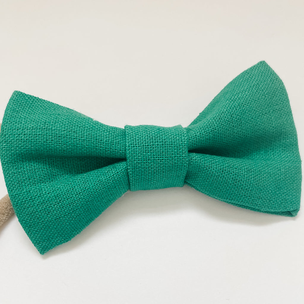 Kelly Green Linen Classic Bow