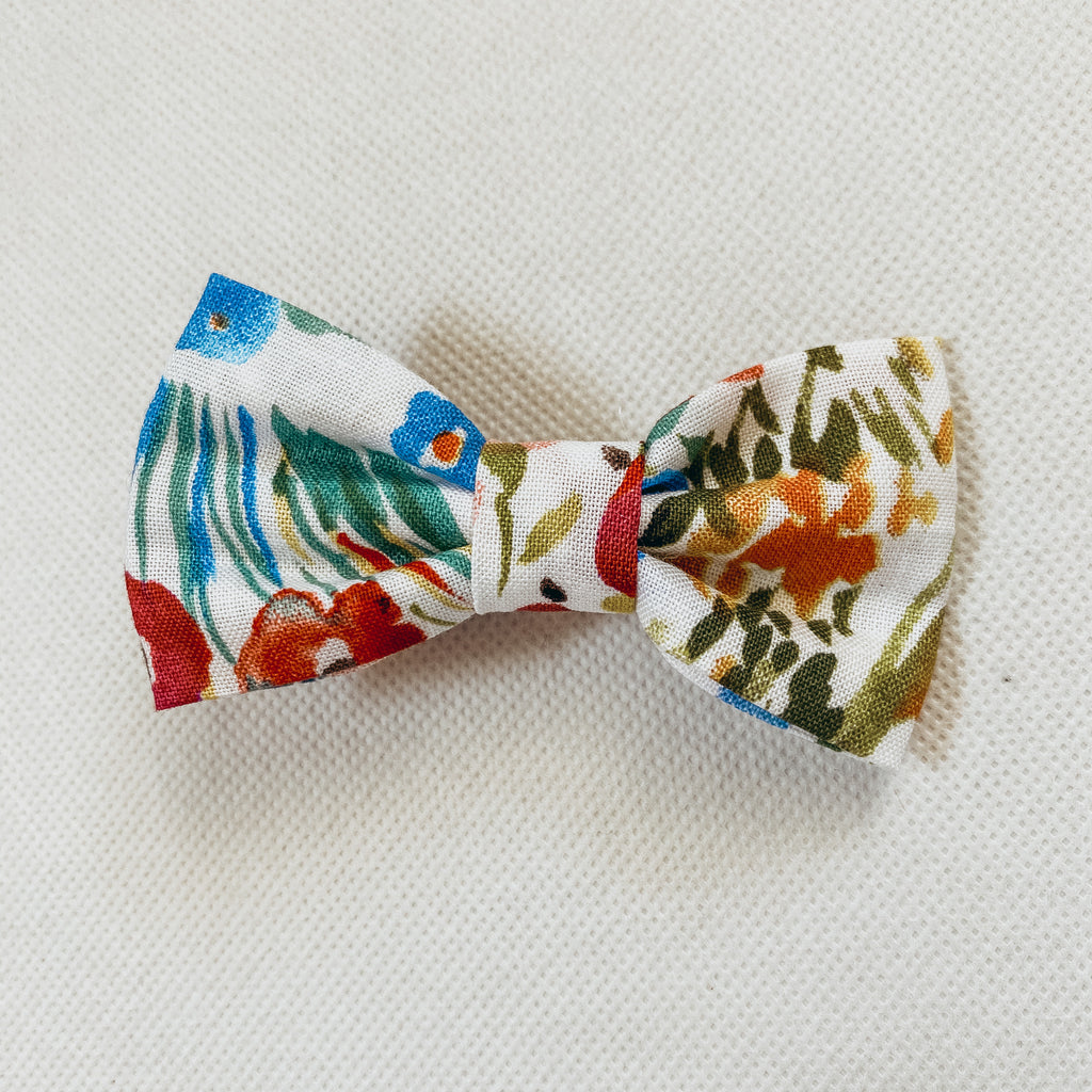 Watercolor Floral Cotton Classic Bow