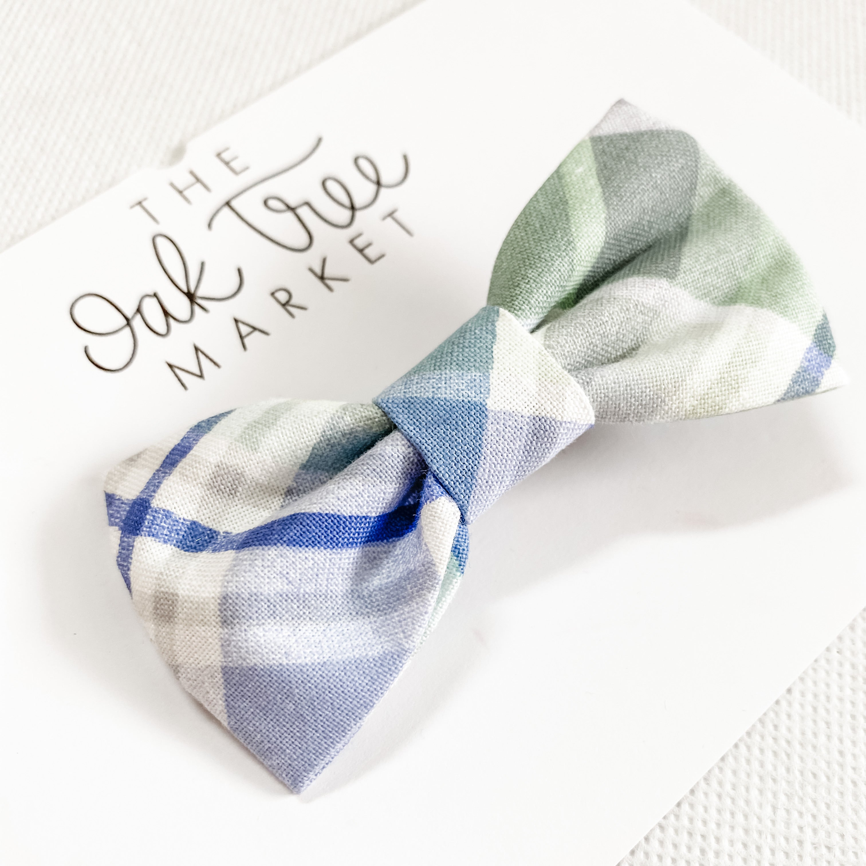 Spring Plaid Cotton Classic Bow