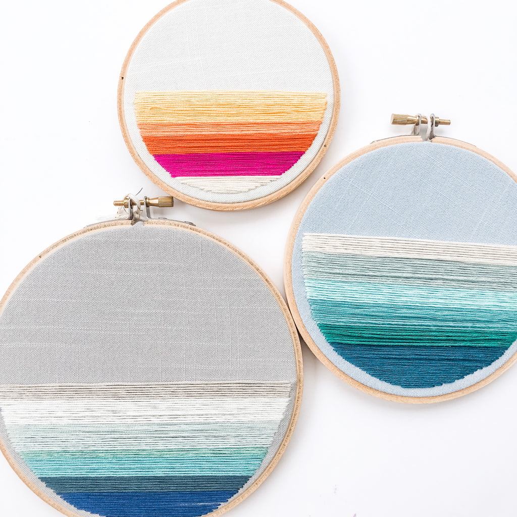 """Seascape"" Embroidery Hoops"