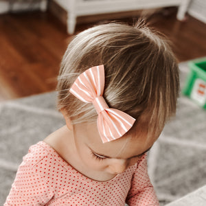 Blush Stripe Classic Bow