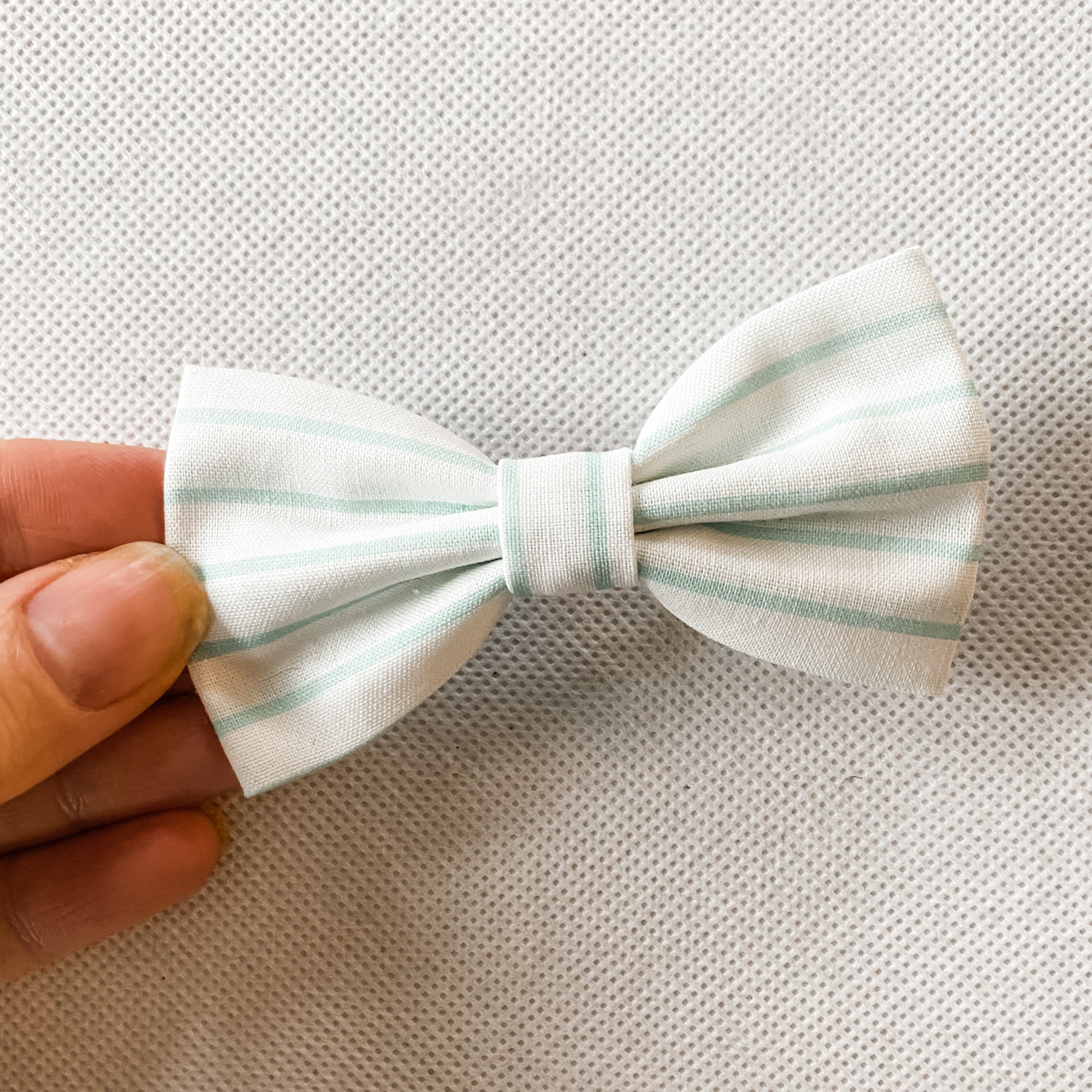Mint Striped Cotton Classic Bow