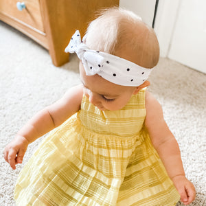 Black & White Polka Dot Tie Headband