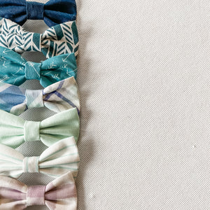 Teal Chevron Cotton Classic Bow