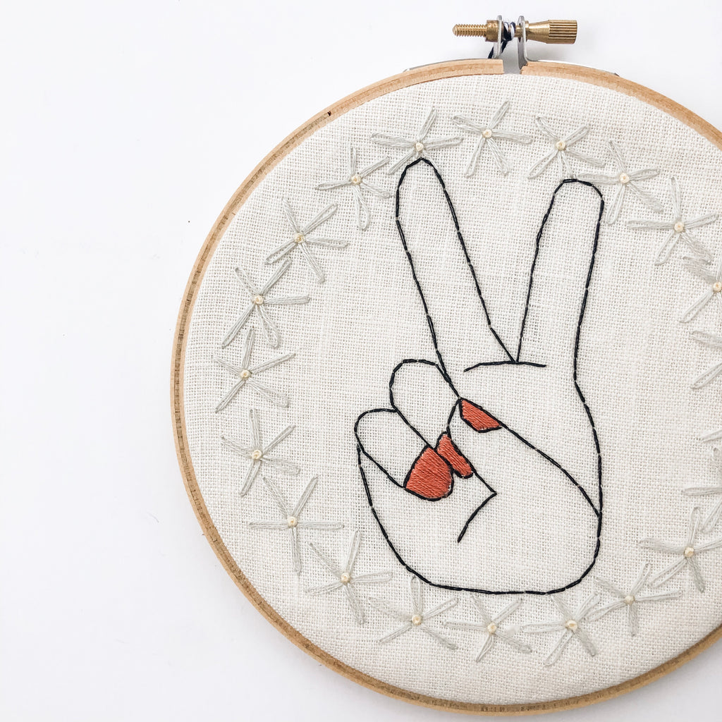 """Peace"" Embroidery Hoop"