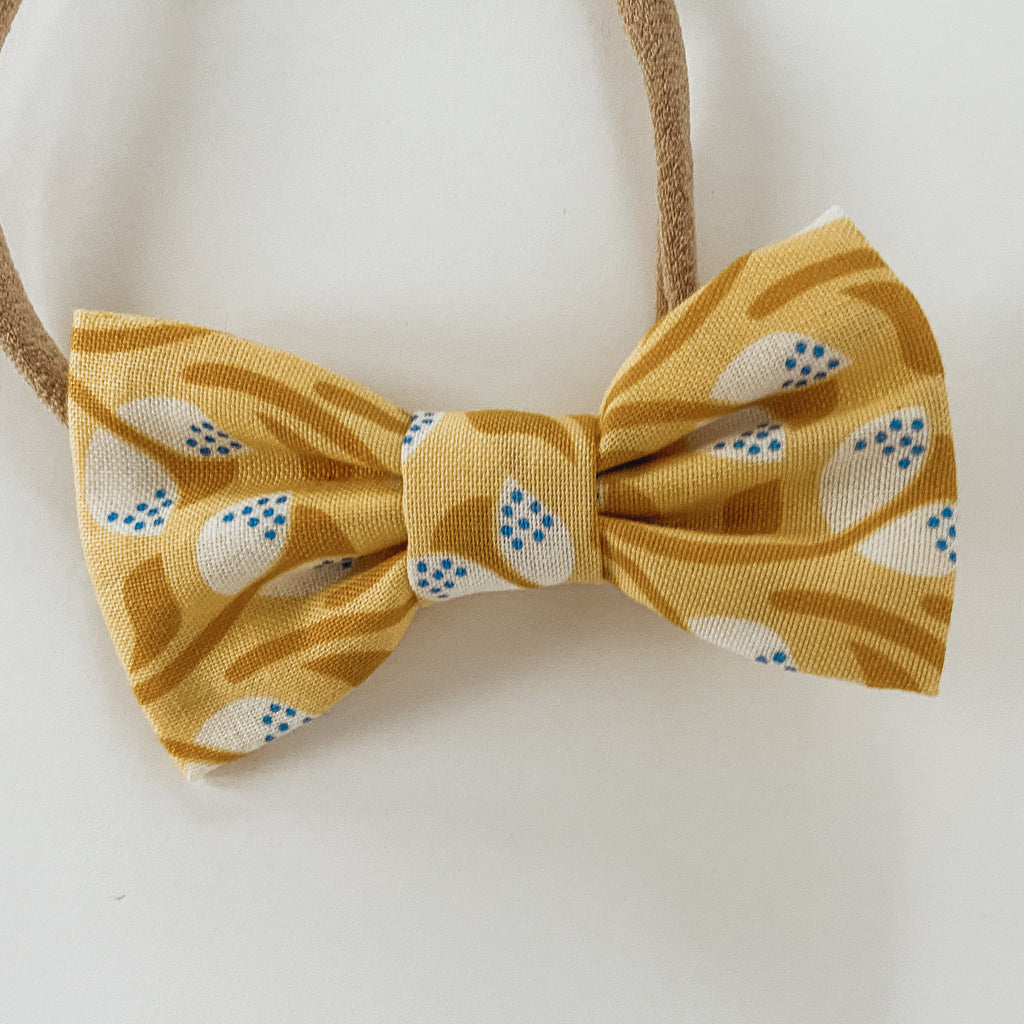 Mustard Floral Classic Bow
