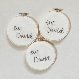 """Ew, David"" Embroidery Hoop"