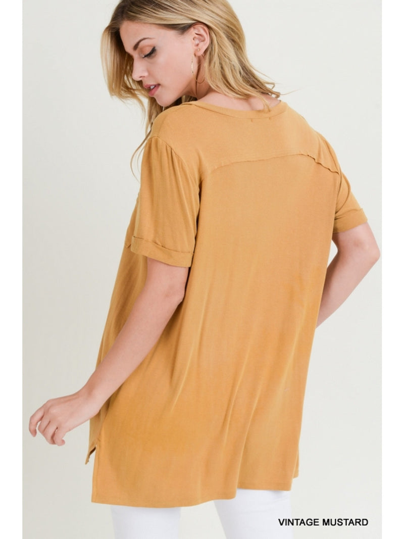 Buy Washed V-Neck Vented Hem Top Vintage Mustard online at Southern Fashion Boutique Bliss