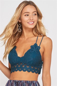 Buy Double Strap Scalloped Lace Bralette Teal online at Southern Fashion Boutique Bliss