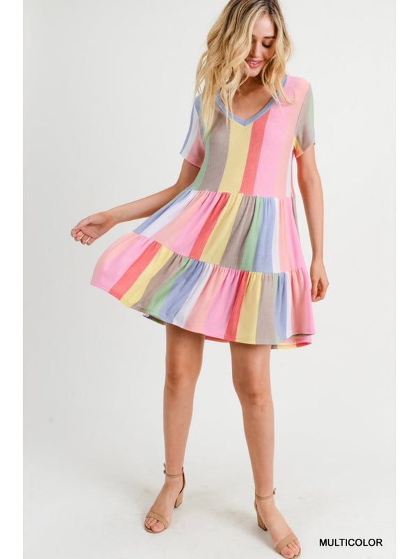 Buy Striped V-Neck Tiered Skirt Dress Multi-Color online at Southern Fashion Boutique Bliss