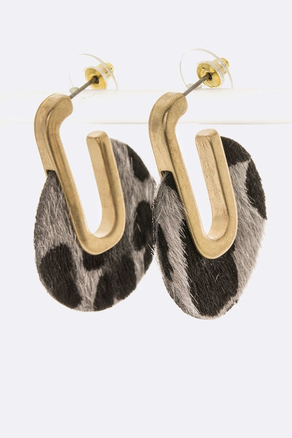 Buy Faux Pony Animal Printed Iconic Hoop Earrings Grey online at Southern Fashion Boutique Bliss