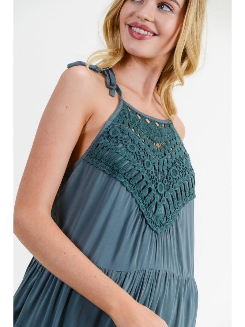 Buy Self Tie Halter Maxi Dress Dusty Kale online at Southern Fashion Boutique Bliss