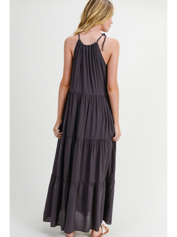 Buy Self Tie Halter Maxi Dress Charcoal online at Southern Fashion Boutique Bliss