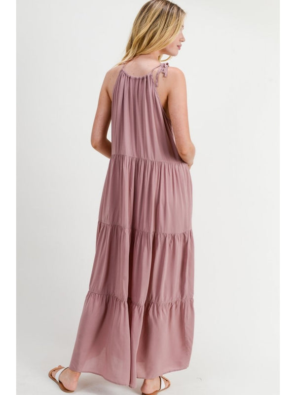 Buy Self Tie Halter Maxi Dress Dusty Pink online at Southern Fashion Boutique Bliss