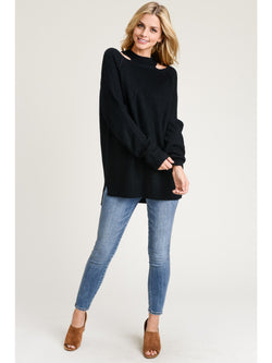 Buy Knit Sweater Top Shoulder Cutouts Black online at Southern Fashion Boutique Bliss