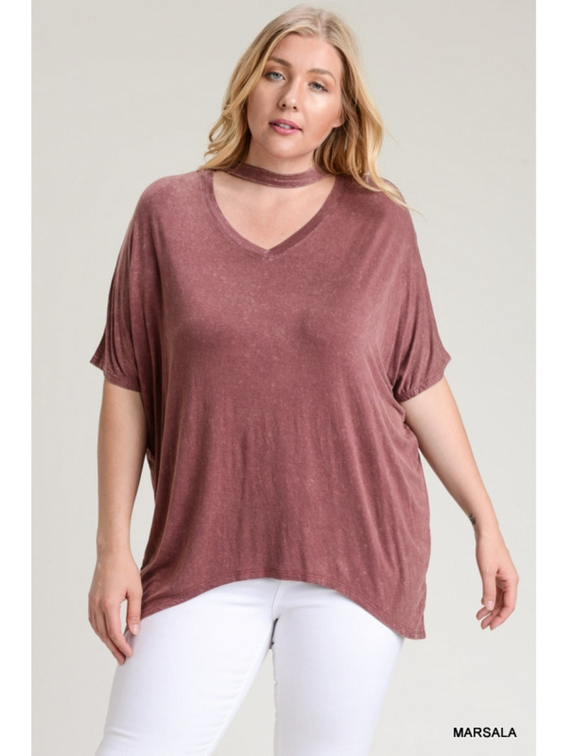 Buy Washed Keyhole Cutout Short Sleeve Top Marsala online at Southern Fashion Boutique Bliss