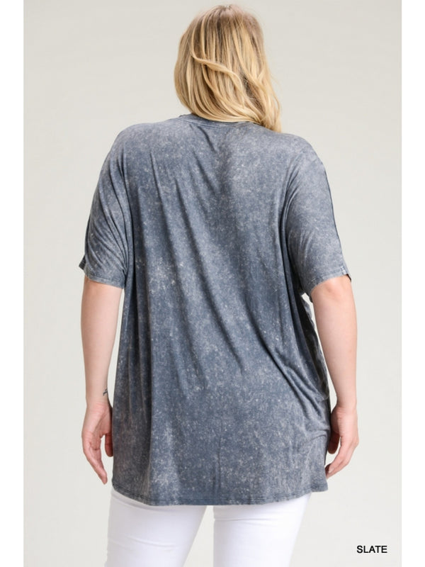 Buy Washed Keyhole Cutout Short Sleeve Top Slate online at Southern Fashion Boutique Bliss