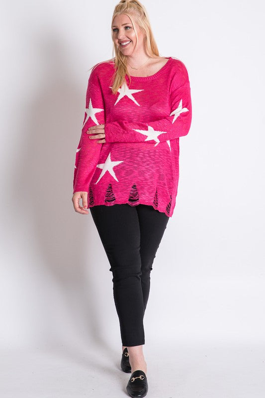 Star Print Sheer Knit Lightweight Sweater Fuchsia - Athens Georgia Women's Fashion Boutique