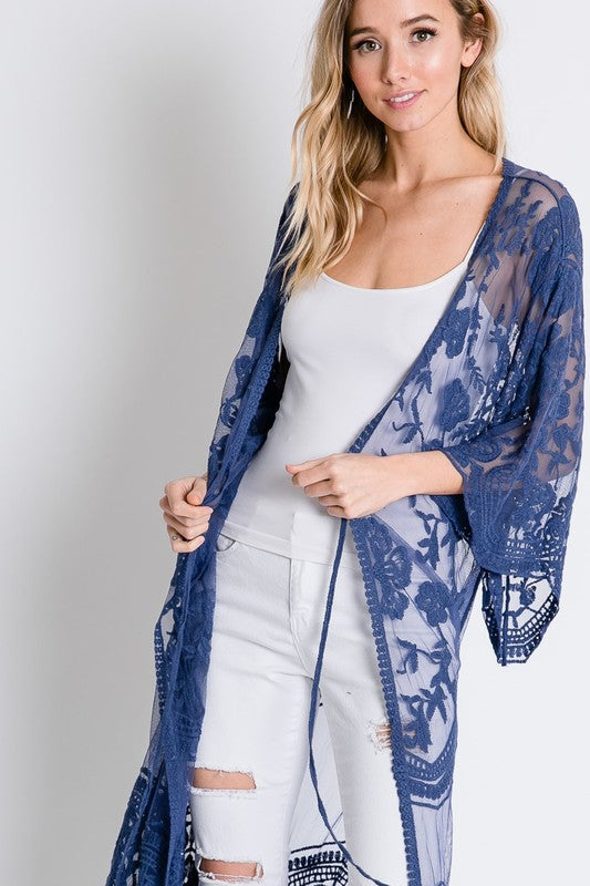 Sheer Lace Kimini Maxi Cardigan Denim Blue - Athens Georgia Women's Fashion Boutique