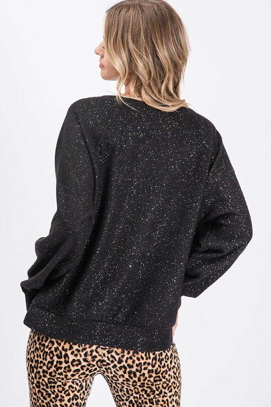 Brushed Knit Glitter Thread Sweatshirt - Athens Georgia Women's Fashion Boutique