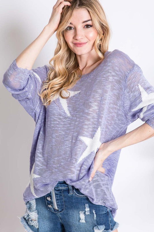Star Print Sheer Knit Lightweight Sweater Lilac - Athens Georgia Women's Fashion Boutique