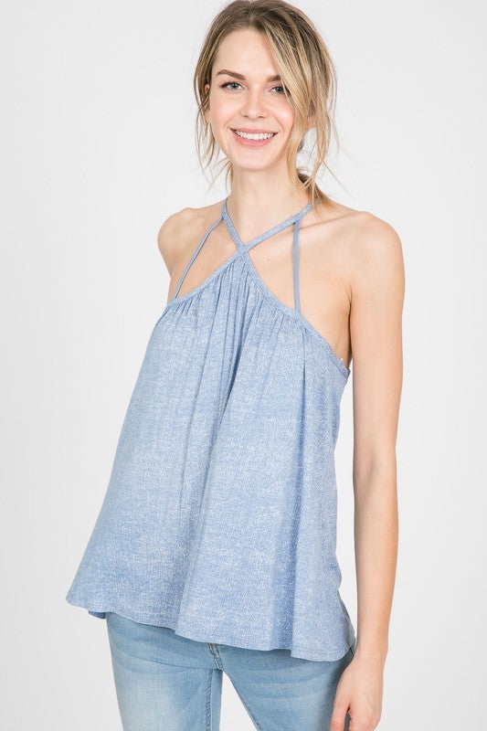 Buy Halter Cami Spaghetti Swing Tank Top Blue online at Southern Fashion Boutique Bliss
