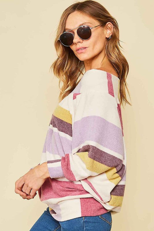 Buy Off Shoulder Wide Stripe Batwing Top Lavender online at Southern Fashion Boutique Bliss