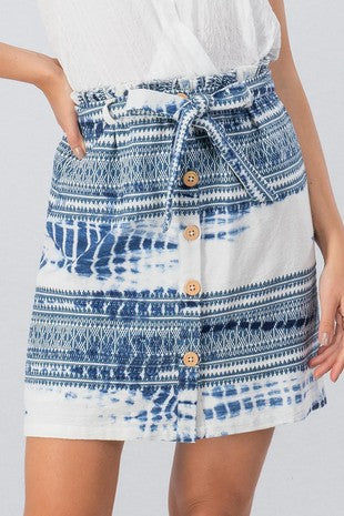 Buy Tie Dye Aztec Print Button Down Skirt Blue online at Southern Fashion Boutique Bliss