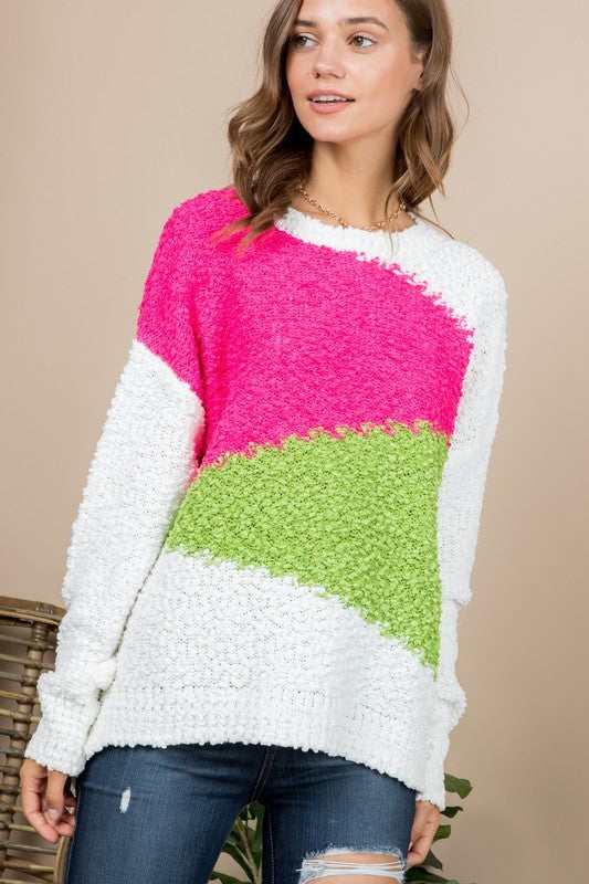 Color Block Long Sleeve Sweater Fuchsia / Green