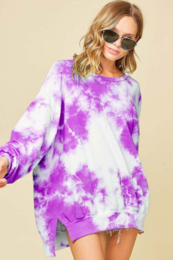 Buy Washed Tie Dye French Terry Sweatshirt Lavender online at Southern Fashion Boutique Bliss
