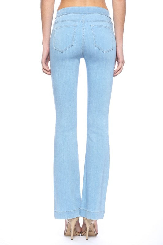 Buy Mid Rise Light Blue Flare Jeggings Light Denim online at Southern Fashion Boutique Bliss