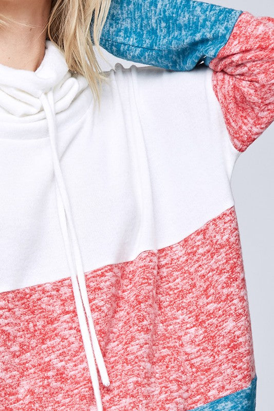 Buy Color Blocked Drawstring Cowl Sweater White/Teal online at Southern Fashion Boutique Bliss
