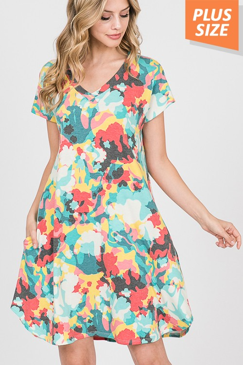 Buy V-Neck Dress with Side Pockets Multi-Color online at Southern Fashion Boutique Bliss