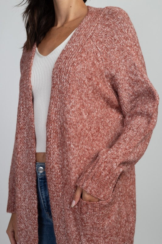 Marled Rib 2-pocket Cardigan Heather Brick - Athens Georgia Women's Fashion Boutique