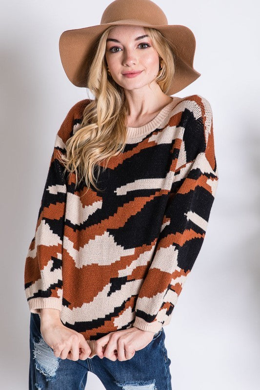 Army Camo Print Cozy Knit Sweater Rust - Athens Georgia Women's Fashion Boutique