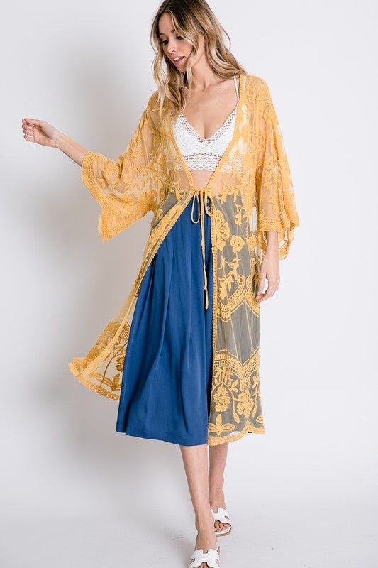 Sheer Lace Kimini Maxi Cardigan Honey Yellow - Athens Georgia Women's Fashion Boutique