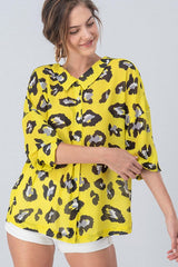 Buy Neon Leopard Button Down Top Yellow online at Southern Fashion Boutique Bliss