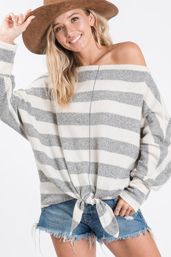 Buy Dolman Sleeve Knot Front Stripe Top Ivory online at Southern Fashion Boutique Bliss