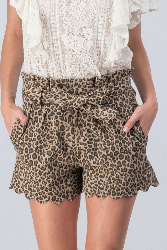 Buy Leopard Paperbag Scallop Bottom Shorts Brown online at Southern Fashion Boutique Bliss