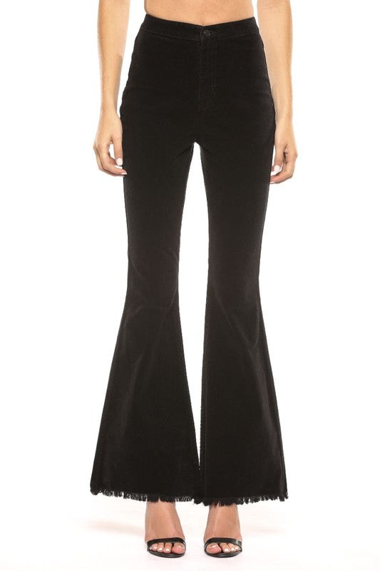 High Rise Corduroy Super Flare Jeans Black - Athens Georgia Women's Fashion Boutique