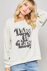 Buy Take It East Vintage Print Graphic Shirt Oatmeal online at Southern Fashion Boutique Bliss