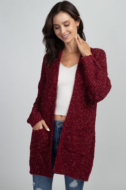 Ribbed Speckled 2-pocket Cardigan Burgundy - Athens Georgia Women's Fashion Boutique