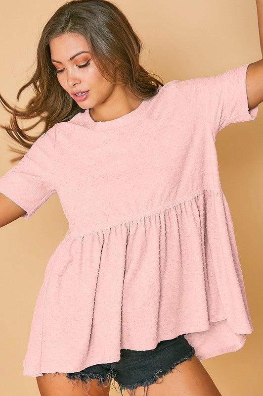 Buy Dot Short Sleeve Knit Top Pink online at Southern Fashion Boutique Bliss