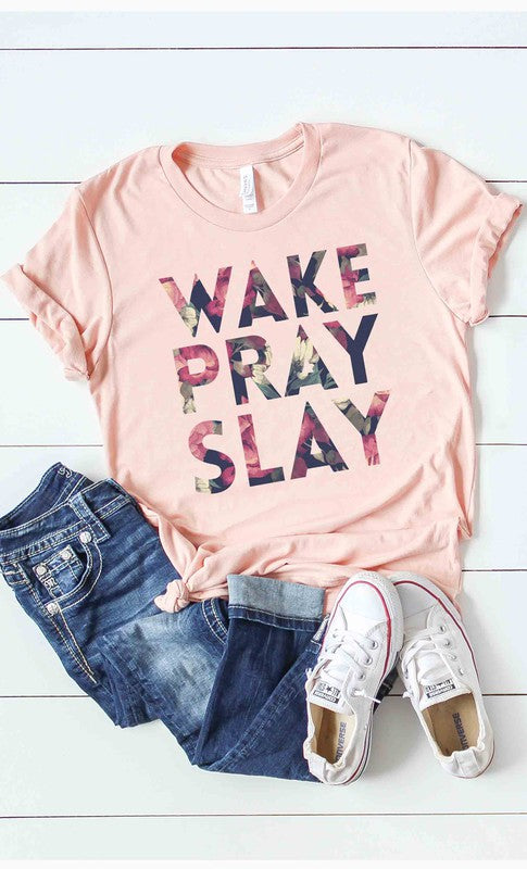Buy Wake Pray Slay Floral Print Graphic Tee Peach online at Southern Fashion Boutique Bliss